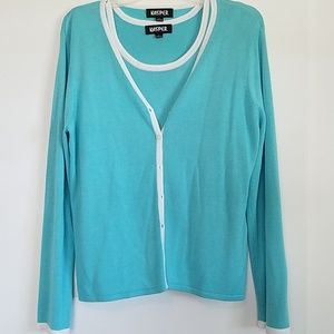 2 Pc Tiffany Blue Sweater Set